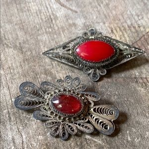 Antique sterling filigree brooches paste stones